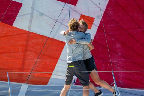 Pip Hare and Ysbrand Endt celebrate TJV finish