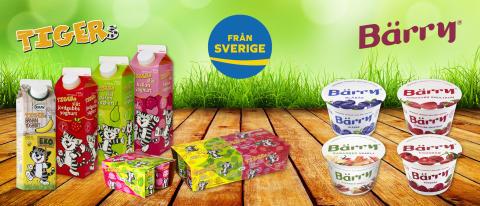 """O. Kavli märker yoghurtklassikerna Tigers® och Bärry® med """"Från Sverige."""""""