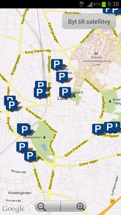 Parkster, skärmdump parkeringsapp 1