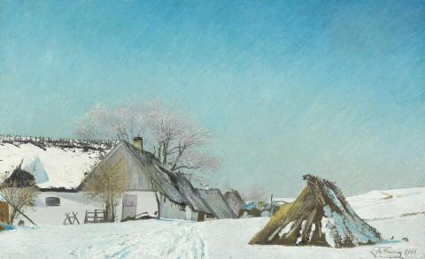 """L. A. Ring: """"Landskab. Formiddag efter at rimtågen er lettet. Vinderød."""" (1901)"""