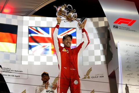 Atemlose Spannung bis zur Schlussflagge: Beim Grand Prix von Bahrain entschied Sebastian Vettel das erste Nachtrennen der Saison 2018 für sich