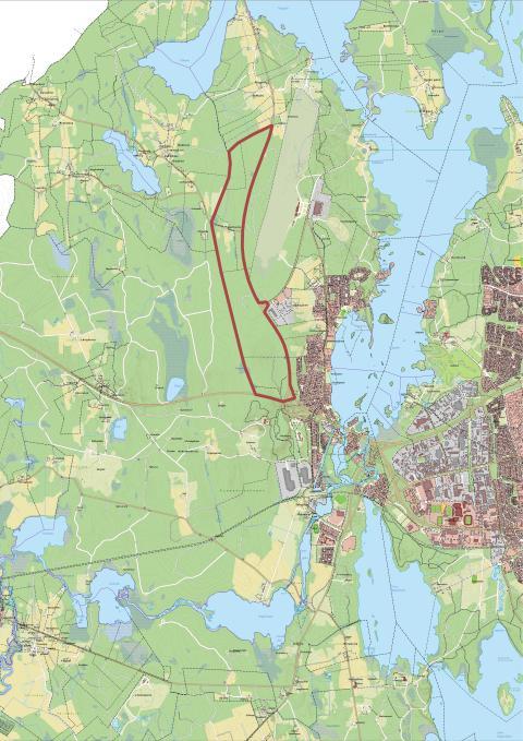 Området är markerat med rött. Bild: Växjö kommun