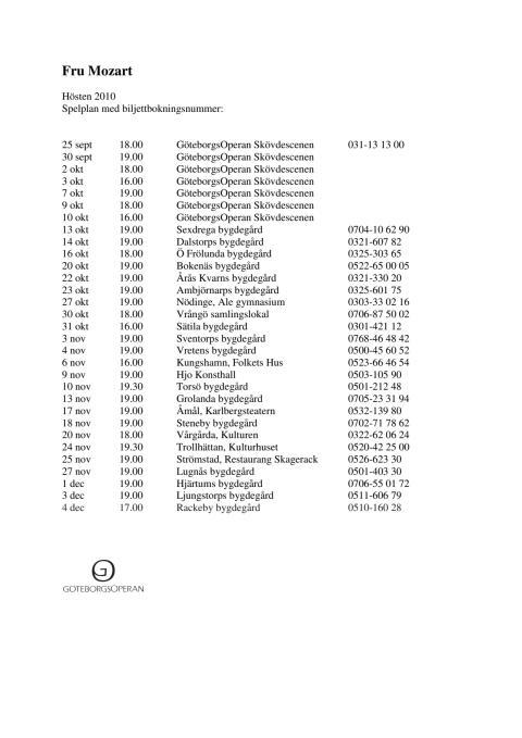 Fru Mozart spelplan med biljettbokning