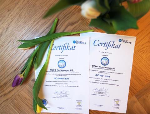 Nordrests dotterbolag MODIS Restauranger har miljöcertifierats enligt ISO 14001