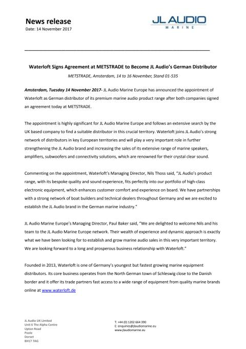 JL Audio Marine Europe: Waterloft Signs Agreement at METSTRADE to Become JL Audio's German Distributor