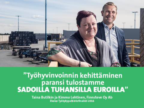 """Finnsteve – Eteran Työkykypalkintofinalisti 2016: """"Työhyvinvointi syntyy luottamuksesta"""""""