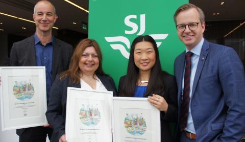 Tre fick diplom för miljösmarta tjänsteresor