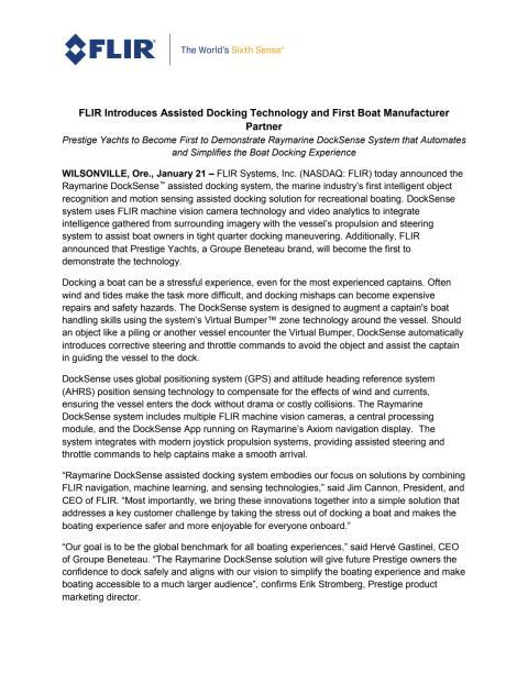 FLIR Introduces Assisted Docking Technology and First Boat Manufacturer Partner