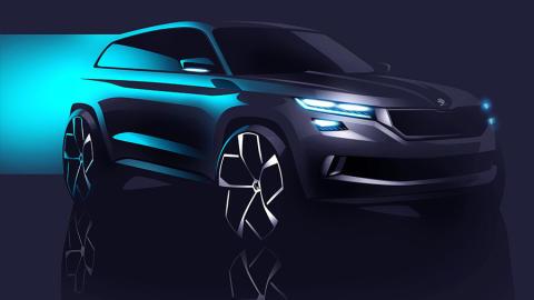 SKODA viser den nye SUV konceptbil VisionS på det kommende Geneve Motorshow.