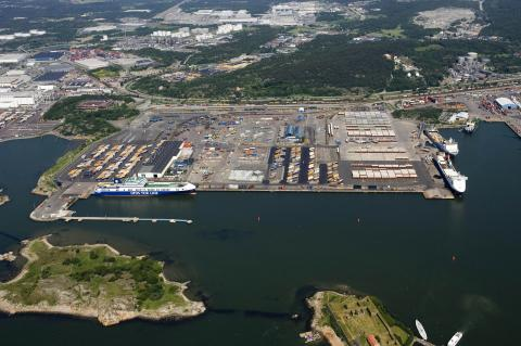 Ro-ro Terminal in Gothenburg from above