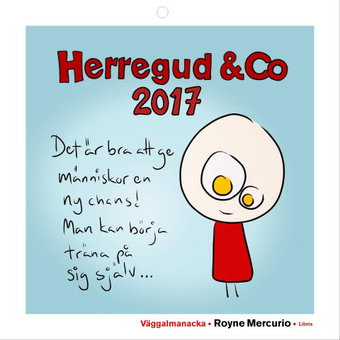 Omslagsbild: Herregud & Co, väggalmanacka