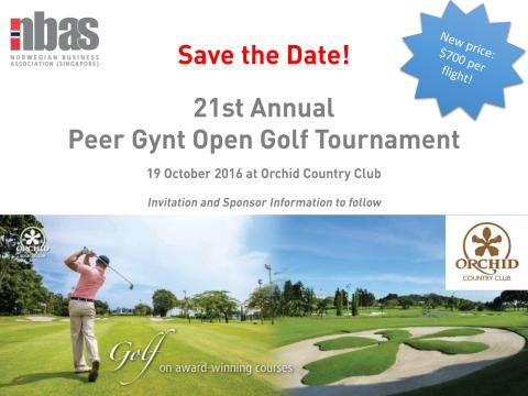 Save the Date: Peer Gynt Open Golf Tournament 19 October 2016