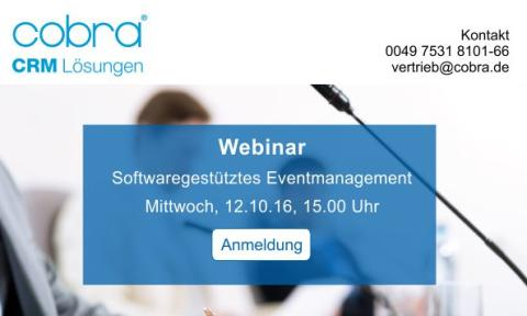 "cobra Webinar ""Softwaregestütztes Eventmanagement"" am 12. Oktober!"