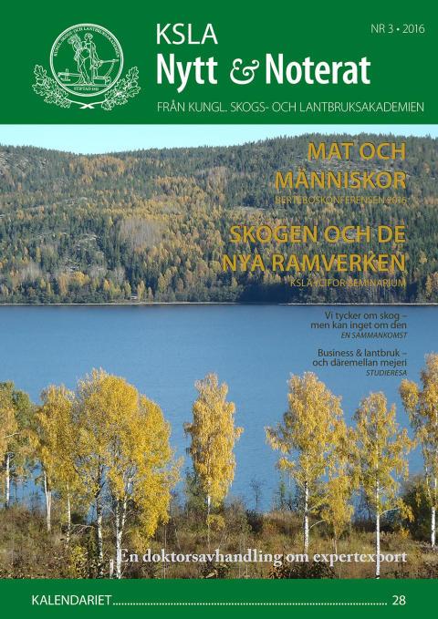 Ute nu: KSLA Nytt & Noterat nr 3-2016
