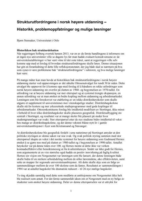 Strukturutfordringene i norsk høyere utdanning