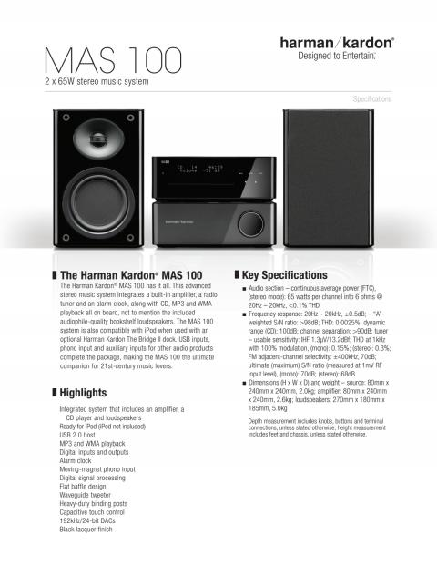 harman kardon MAS 100 specifikationsblad ENG