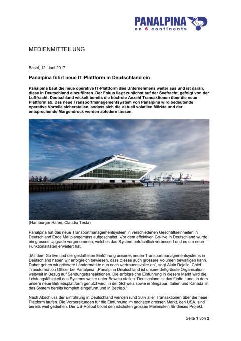 Panalpina führt neue IT-Plattform in Deutschland ein