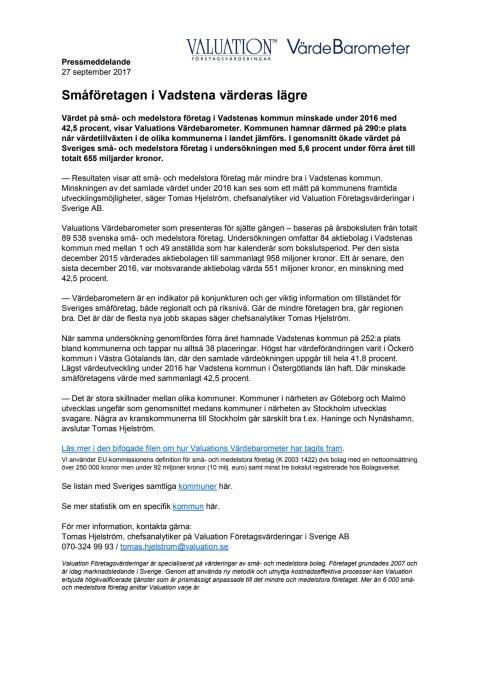 Värdebarometern 2017 Vadstenas kommun