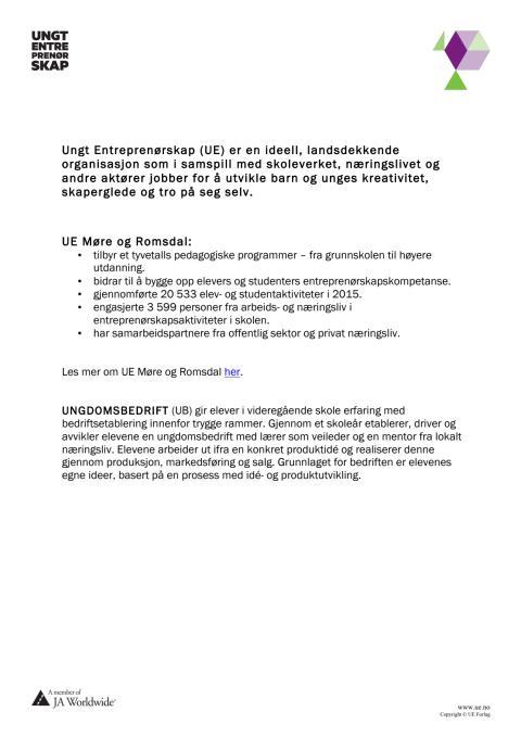 Fakta Ungt Entreprenørskap Møre og Romsdal