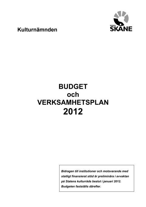 Kulturnämndens budget 2012