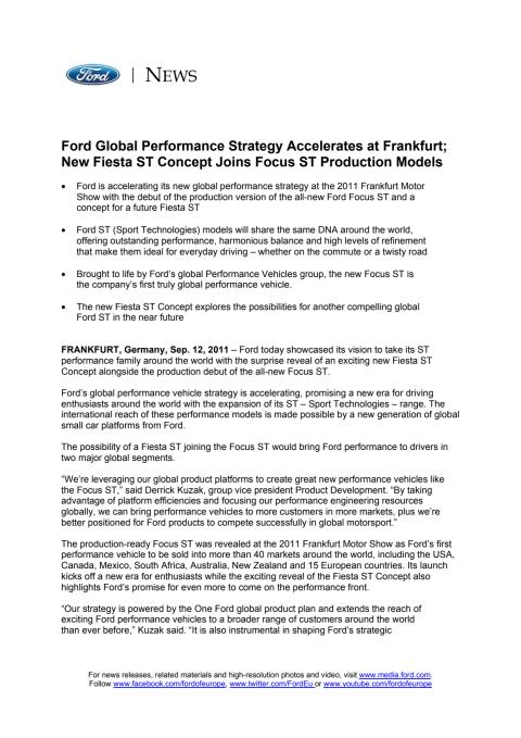 FORD GLOBAL PERFORMANCE STRATEGY ACCELERATES AT FRANKFURT