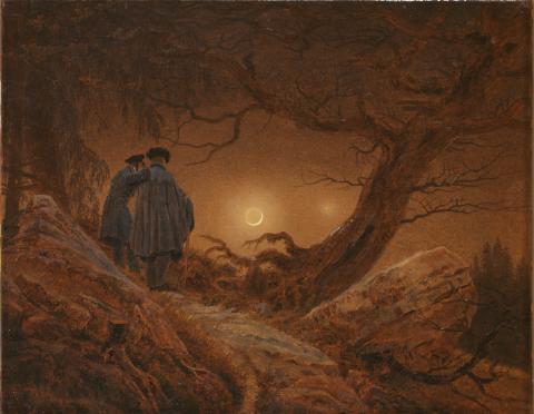 Alene med naturen. Caspar David Friedrich, To menn betrakter månen, 1819/20
