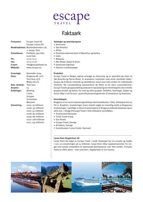 Faktaark Escape Travel