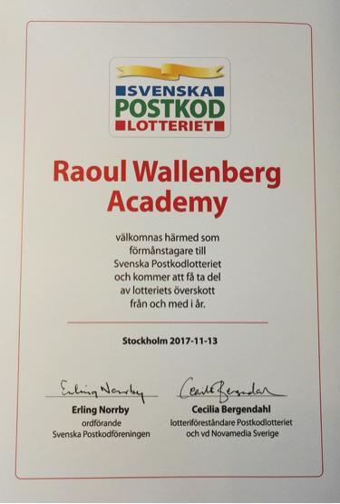 Diplom till Raoul Wallenberg Academy, förmånstagare till Svenska Postkodlotteriet