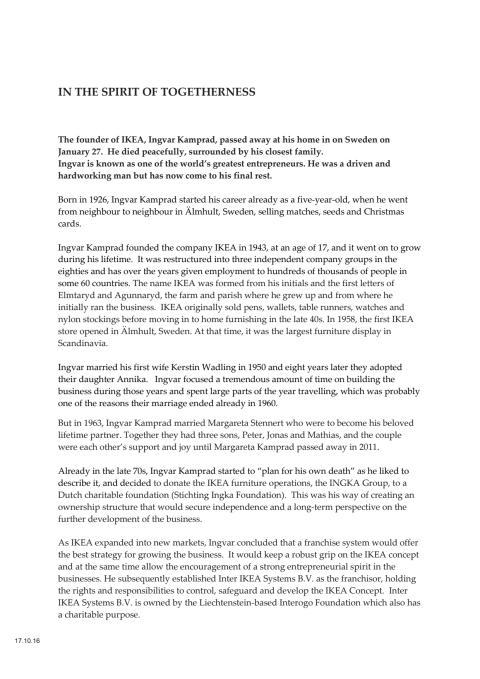 Ingvar Kamprad general obituary
