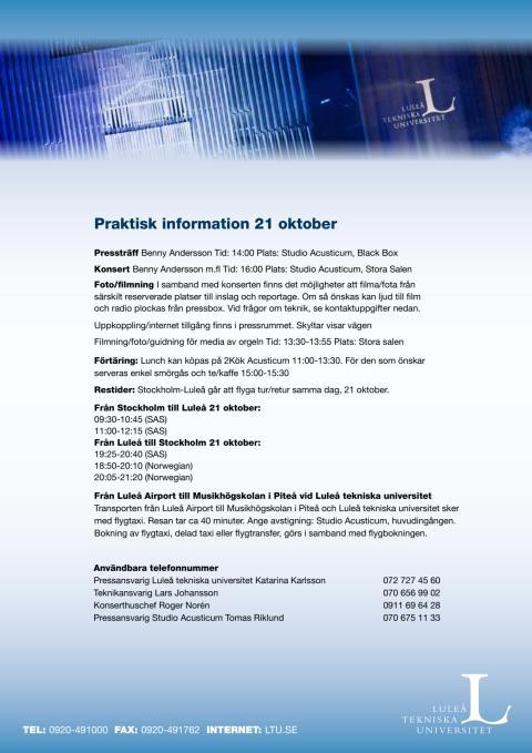 Benny Anderssons uruppförande på high-tech orgeln - Praktisk information