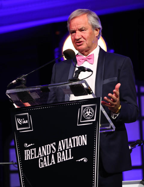 Bjorn Kjos thanks the Irish aviation industry for his 'Outstanding Contribution to Aviation' award