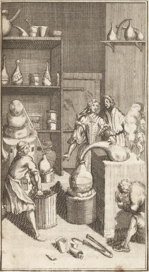 Drottning Kristina på besök i ett alkemiskt laboratorium