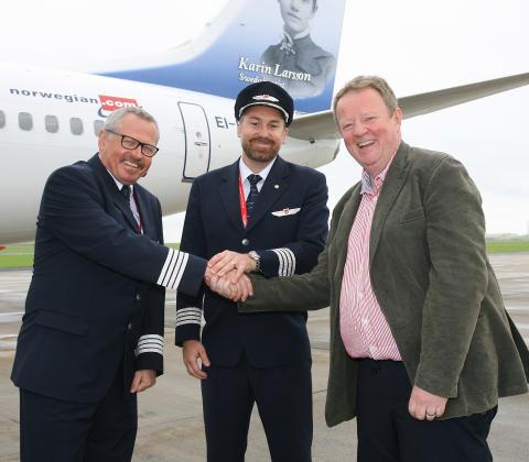 Lars Garde (Captain), Robert Bjorkholm (Co-Pilot) and Graham Keddie (MD Belfast International Airport)