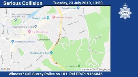 Appeal for witnesses following serious collision on A24 in Dorking