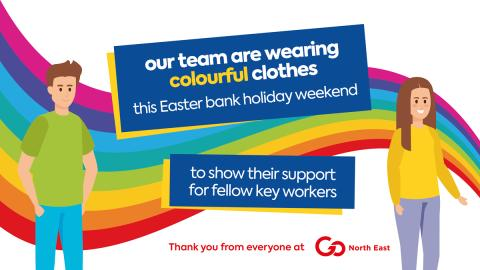 Our team are wearing colourful clothes this Easter bank holiday weekend to show their support for fellow key workers