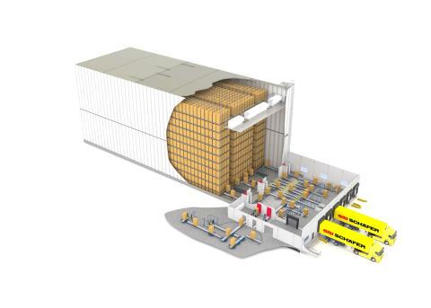 SSI Schäfer designer et fuldautomatisk dybfrostlager til Aviko Germany til sit produktionsanlæg i den tyske by Rain am Lech.