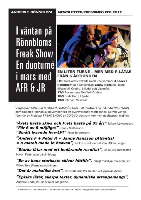 Anders F Rönnblom - Presstext februari 2017
