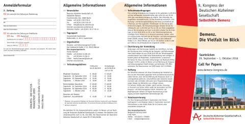 Ankündigungsflyer zum 9. Kongress der Deutschen Alzheimer Gesellschaft