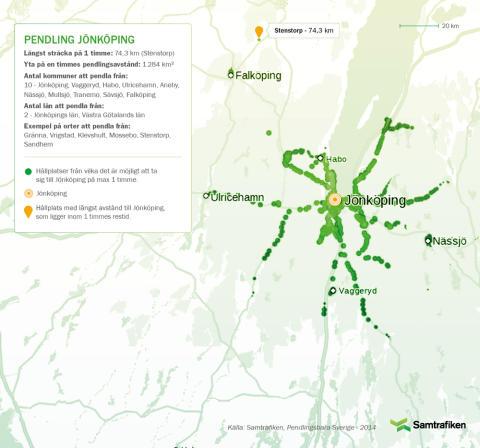 Pendlingsbara Sverige: Här kan man bo och pendla till Jönköping