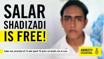 Iran - ung man fri efter tio år som dödsdömd