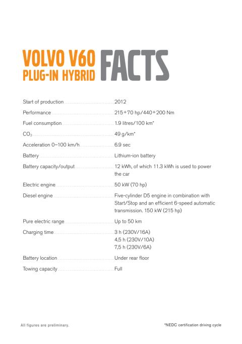 Fakta V60 plug-in hybrid (på engelska).