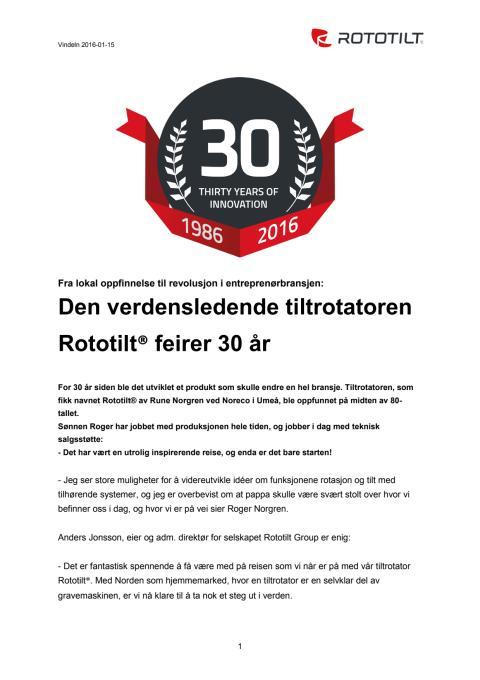 Den verdensledende tiltrotatoren Rototilt® feirer 30 år