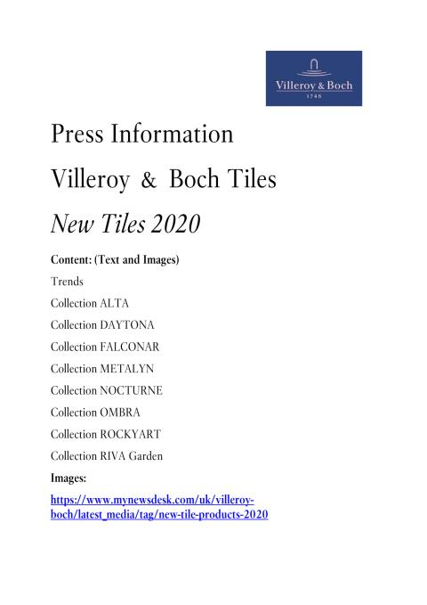 Press Information New tile products 2020