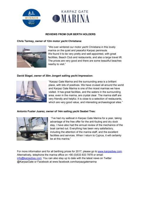 Press Kit #3: Reviews from Berth Holders at Karpaz Gate Marina