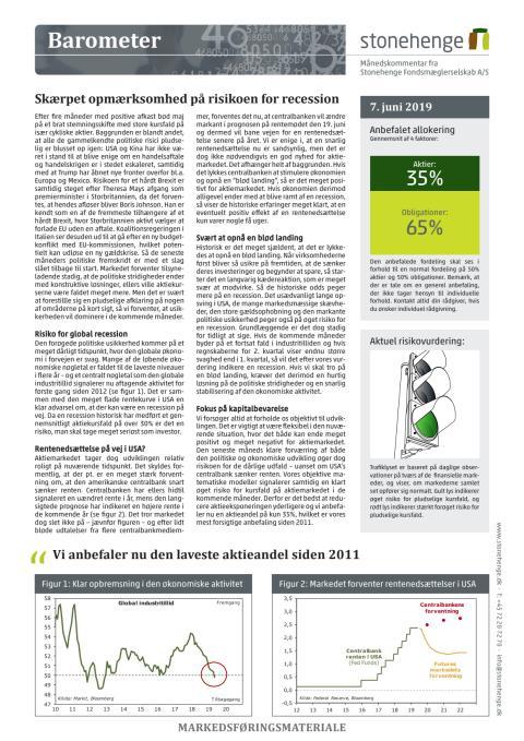 Barometer: Skærpet opmærksomhed på risikoen for recession