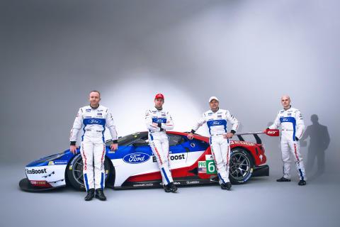 Olivier Pla, Stefan Mücke, Andy Priaulx och Marino Franchitti kör Ford GT för team Ford Chip Ganassi