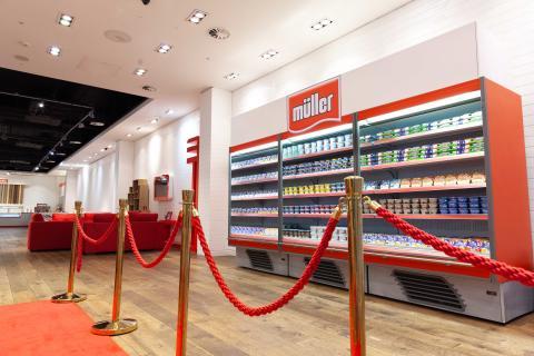 Branded yogurts on sale at the Müller Corner Shop