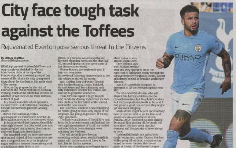 City face tough task against the Toffees