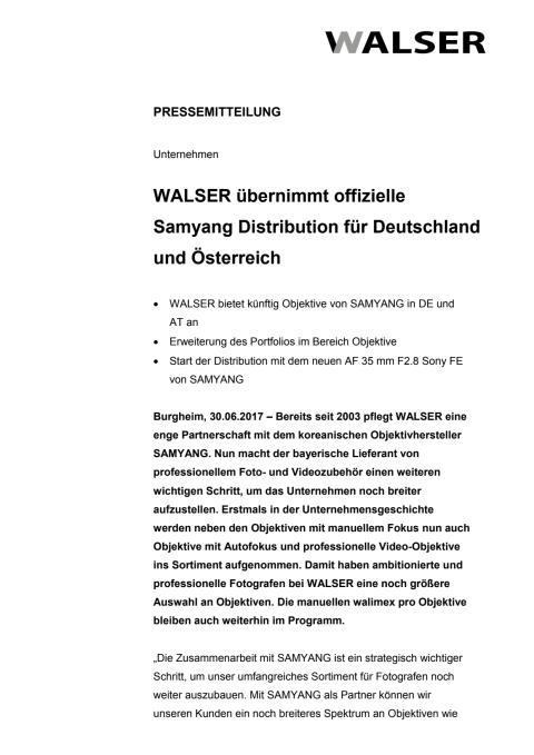 WALSER übernimmt offizielle Samyang Distribution für Deutschland und Österreich