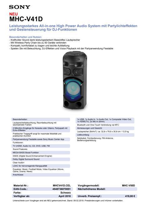 Datenblatt Audio System MHC-V41D von Sony
